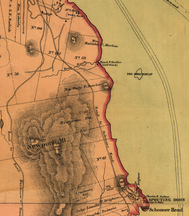 "detail of ""Map of Mount Desert Island"" published by Colby & Stuart, 1887. (©Library of Congress, Geography and Map Division)"