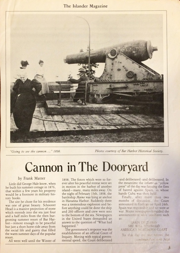"""Cannon in the Dooryard,"" Frank Matter, The Islander Magazine, date unknown."