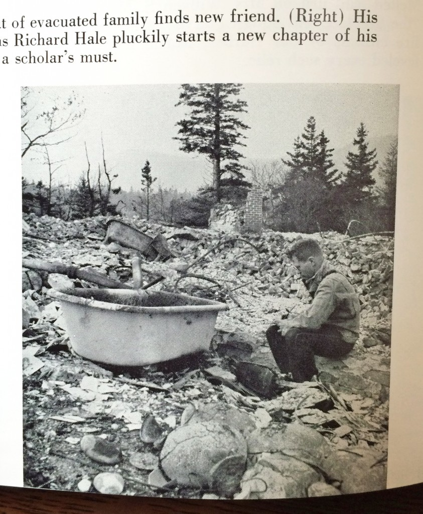 "The caption reads ""His Schooner Head estate in ruins Richard hale pluckily starts a new chapter of his ""The Story of Bar Harbor,"" a scholar's must."" From ""Mount Desert The Most Beautiful Island in the World"" by Sargent Collier and Tom Horgan"