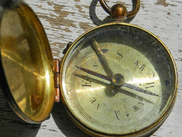 Chester's pocket compass. Photo courtesy of Cynthia Lawry.